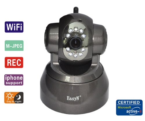 EasyN FS-613B-M166 Wireless/Wired Pan & Tilt IP Camera with 15 Meter Night Vision and 3.6mm Lens (67° Viewing Angle) - Coffee NEWEST MODEL