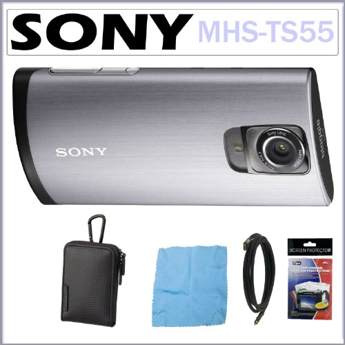 Sony Bloggie Live MHS-TS55 WiFi Video Camera with 4x Digital Zoom and 3.0-Inch Touchscreen + Sony Case + Mini HDMI Cable + Cleaning Cloth + Screen Protectors